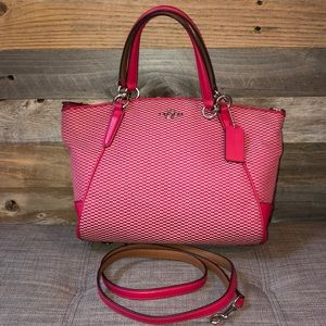 Coach Kelsey Jacquard Satchel Red/Pink